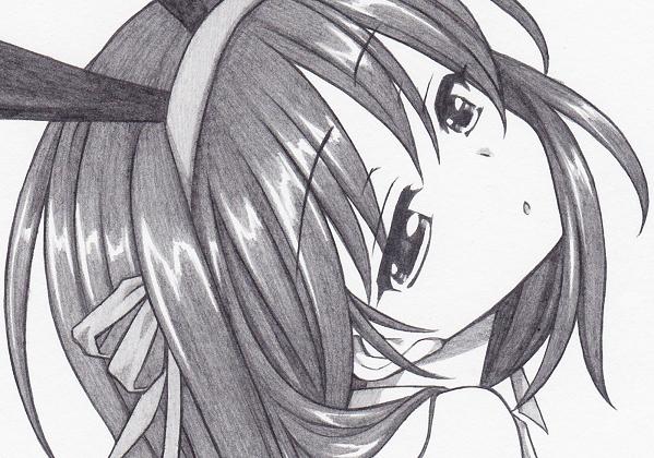 同人手描きイラスト*鉛筆画【涼宮ハルヒの憂鬱*涼宮ハルヒ/バニーガール】