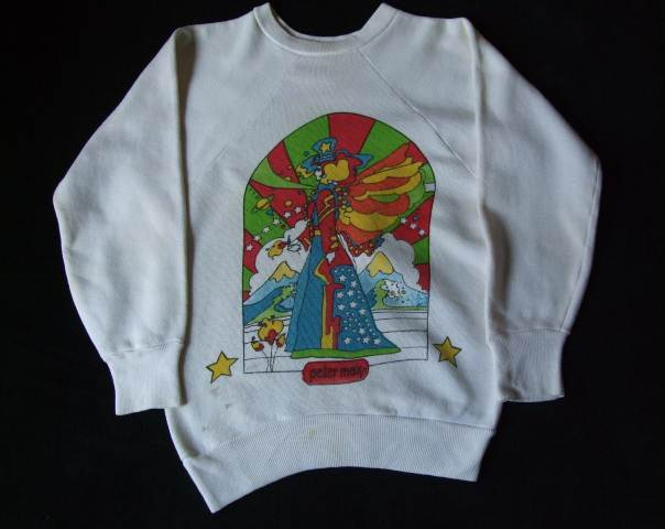 1960s Vintage / Peter Max / PISCES うお座 染み込みプリント スエットシャツ 難あり ビンテージ中古品 ピーターマックス_画像8