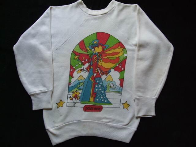 1960s Vintage / Peter Max / PISCES うお座 染み込みプリント スエットシャツ 難あり ビンテージ中古品 ピーターマックス_1960s Peter Max PISCES 染み込みプリント
