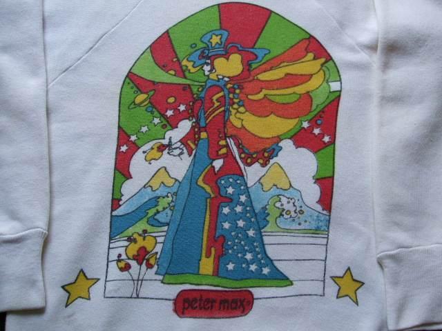 1960s Vintage / Peter Max / PISCES うお座 染み込みプリント スエットシャツ 難あり ビンテージ中古品 ピーターマックス_うお座 染み込みプリント