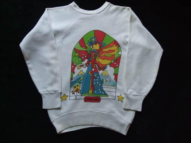 1960s Vintage / Peter Max / PISCES うお座 染み込みプリント スエットシャツ 難あり ビンテージ中古品 ピーターマックス_画像6