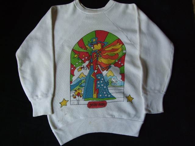 1960s Vintage / Peter Max / PISCES うお座 染み込みプリント スエットシャツ 難あり ビンテージ中古品 ピーターマックス_画像10