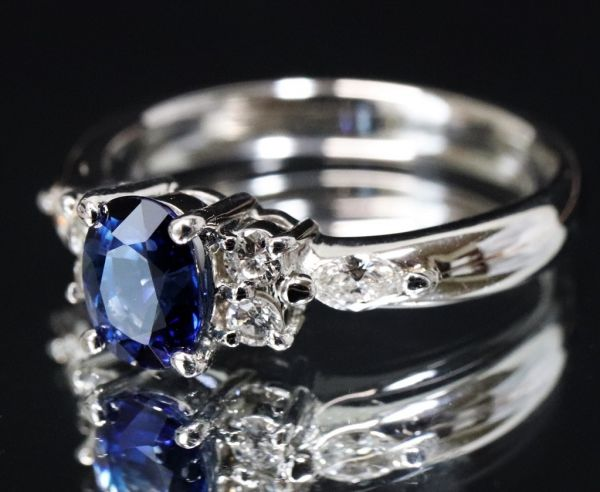 Pt900 プラチナ 天然サファイア 0.90ct 天然ダイヤモンド0.25ct リング ■サイズ10.5号 指輪 サファイヤ_画像4