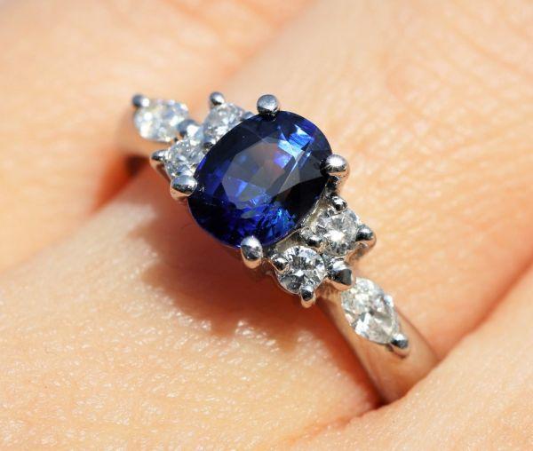 Pt900 プラチナ 天然サファイア 0.90ct 天然ダイヤモンド0.25ct リング ■サイズ10.5号 指輪 サファイヤ_画像3
