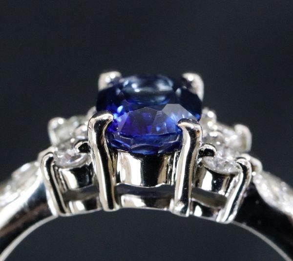 Pt900 プラチナ 天然サファイア 0.90ct 天然ダイヤモンド0.25ct リング ■サイズ10.5号 指輪 サファイヤ_画像6