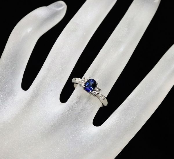 Pt900 プラチナ 天然サファイア 0.90ct 天然ダイヤモンド0.25ct リング ■サイズ10.5号 指輪 サファイヤ_画像9