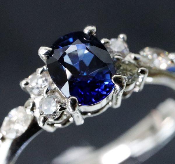 Pt900 プラチナ 天然サファイア 0.90ct 天然ダイヤモンド0.25ct リング ■サイズ10.5号 指輪 サファイヤ_画像1