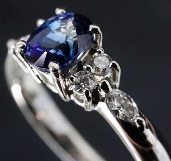 Pt900 プラチナ 天然サファイア 0.90ct 天然ダイヤモンド0.25ct リング ■サイズ10.5号 指輪 サファイヤ_画像5