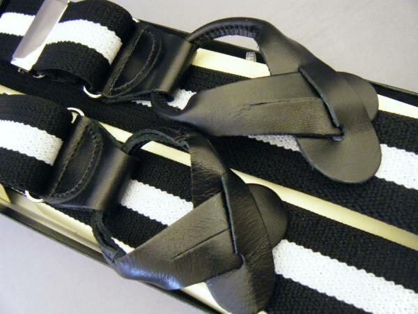サスペンダー メンズ 紳士 USA製 Brace ブレイス ブレイシーズ Y型 Yバック 伸縮素材 6ボタン止めWD Black/White Stripe B145_b145