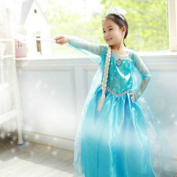 fe61ba0c7b8d9 130 送料無料 新品 アナと雪の女王 エルサ コスプレ ドレス ワンピース ハロウィン 衣装 子供
