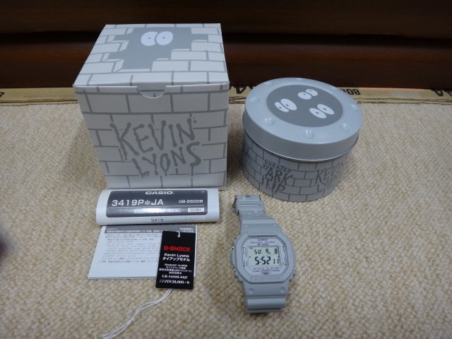 【中古美品】CASIO G-SHOCK × Kevin Lyons タイアップモデル BLUETOOTH WATCH GB-5600B-K8JF