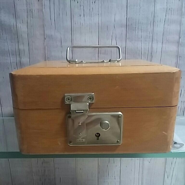 昭和レトロ 木製 判子ケース 木箱 ボックス ゴム印付 小物入れ 事務用品 アンティーク 古道具_画像1