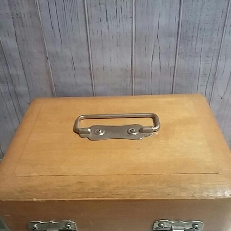 昭和レトロ 木製 判子ケース 木箱 ボックス ゴム印付 小物入れ 事務用品 アンティーク 古道具_画像6