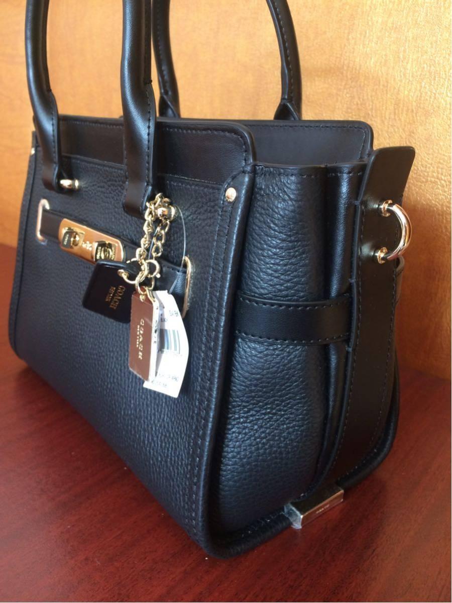 COACH コーチスワッガー ハンドバッグ 2WAYショルダーバッグ ブラックレザー 女レディース鞄新品 黒_画像3