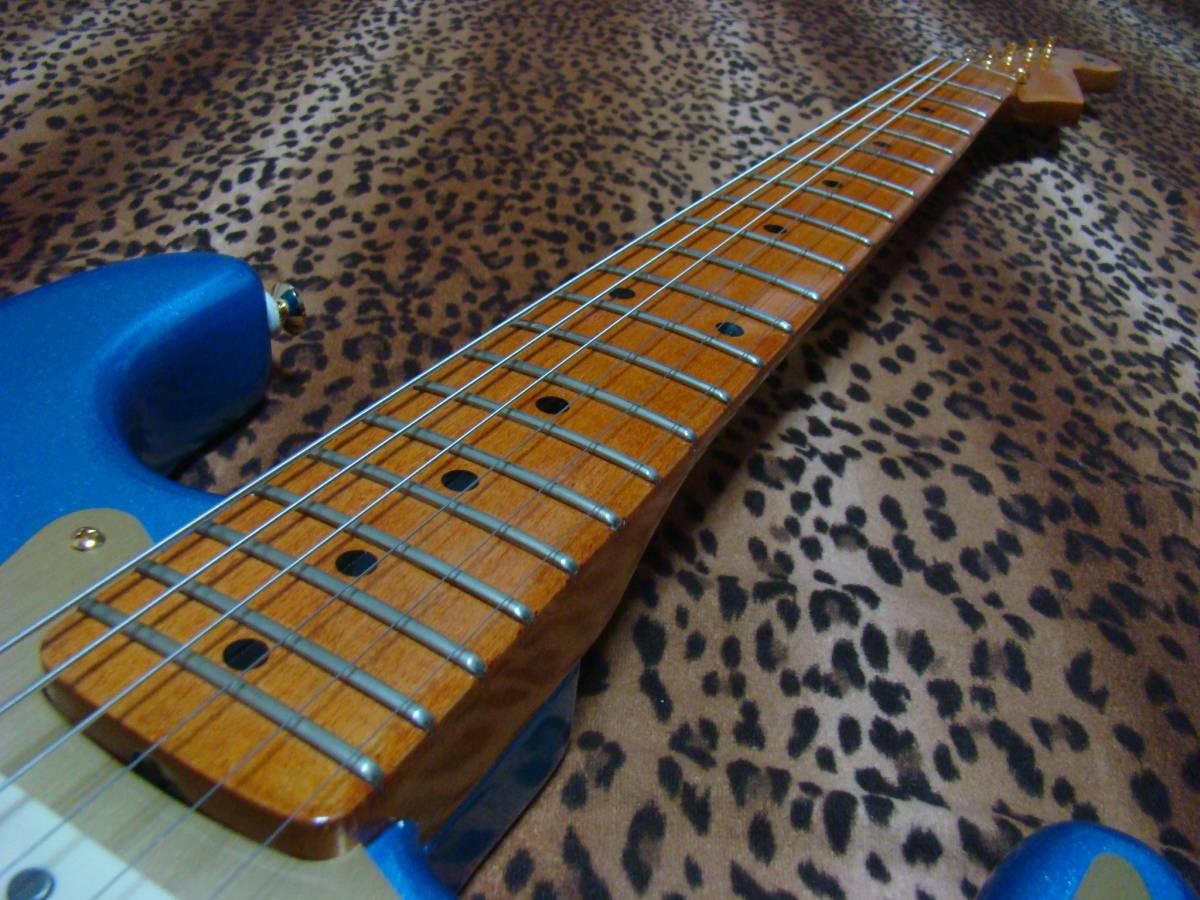 REAL SUPER CUSTOM!◆no Fender stratocaster 青/金 ストラトキャスター ストラト 7way SLOOP Neck!Lindy ラッカー 赤茶げNeck So Cool!_画像8