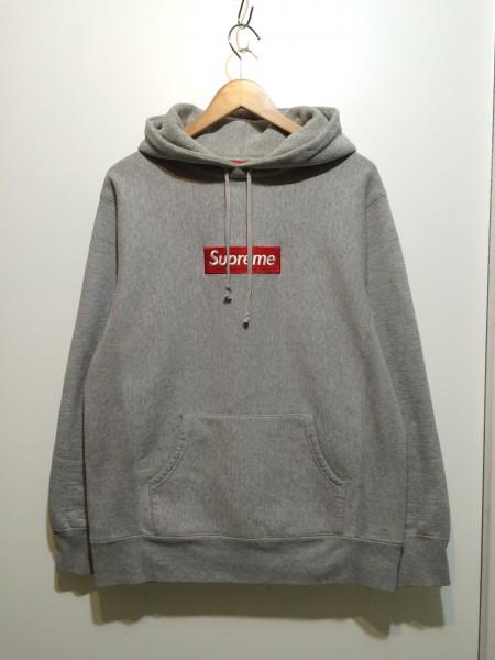 SUPREME Box Logo Pullover L ボックスロゴパーカー 2005 05AW hooded sweatshirt vintage プルオーバー グレー grey 971-11
