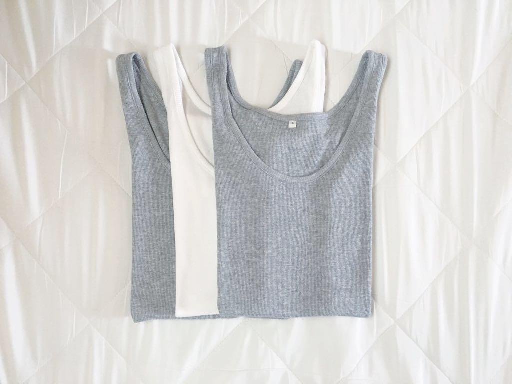 無印良品 オーガニックコットンリブタンクトップSサイズ3枚セット グレー&白 Tシャツ MUJI