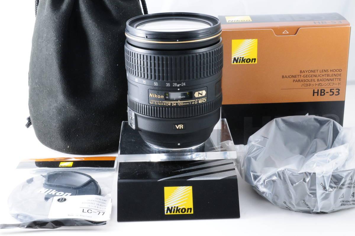 ★ほぼ未使用★Nikon ニコン AF-S NIKKOR 24-120mm F4 G ED VR ナノクリ 未使用純正レンズフード 付属品多数★常時レンズフィルター装着!