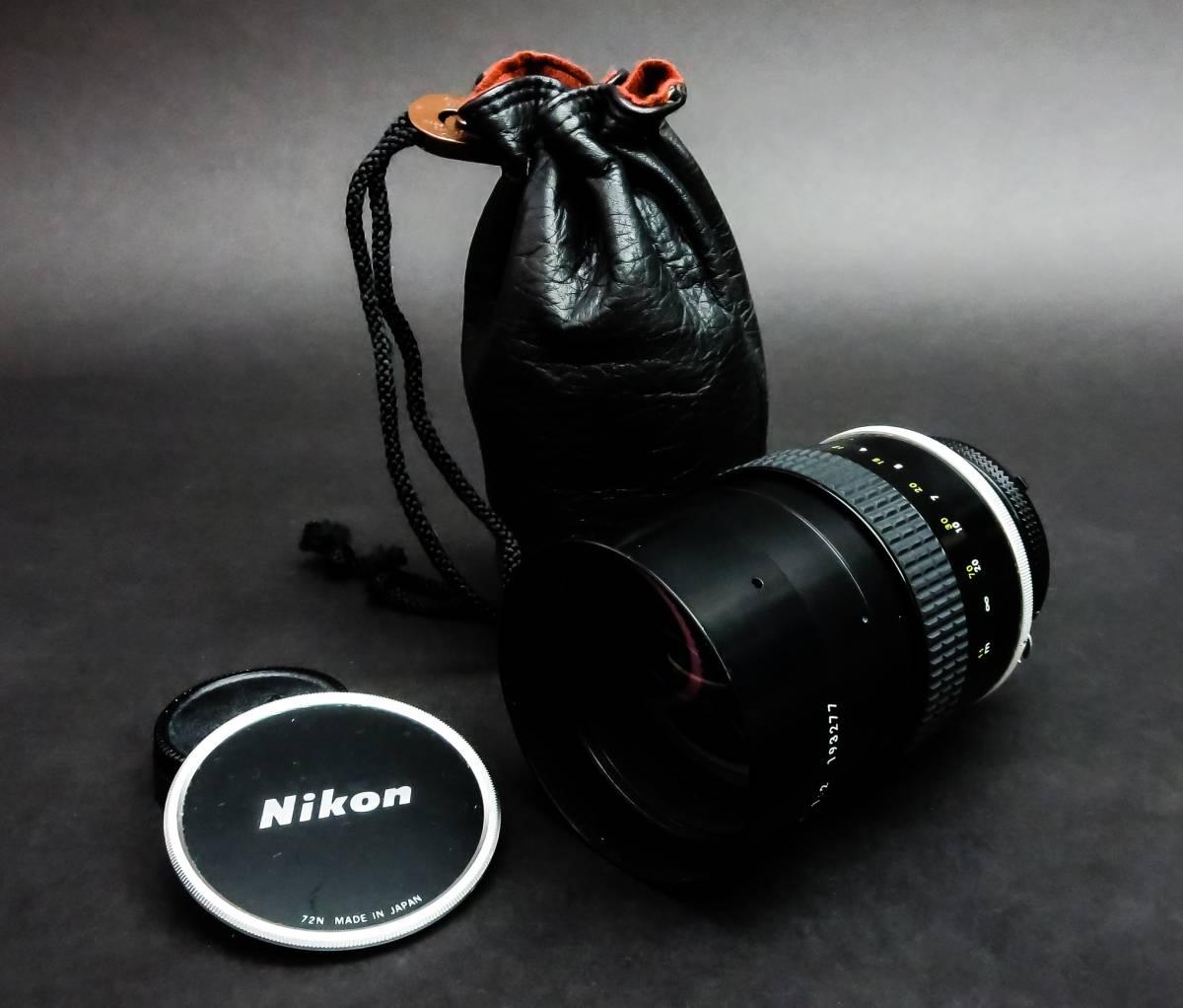 【Nikon オールド レンズ】ニコン カメラレンズ NIKKOR 135mm 1:2 193277 72N MADE IN JAPAN