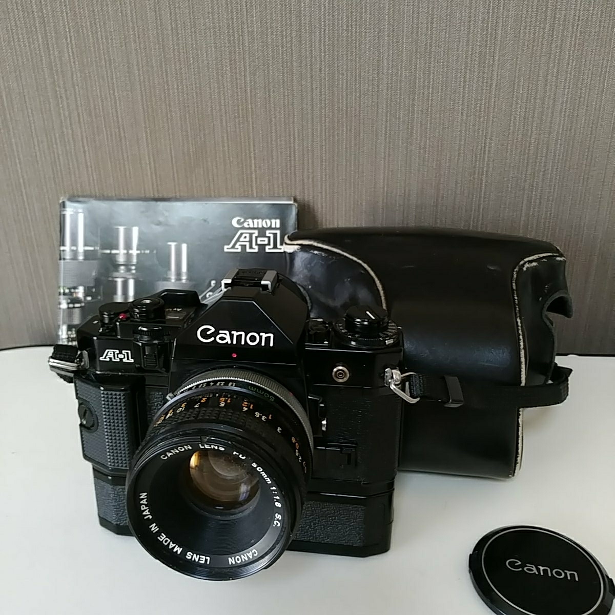 Canon A-1 パワーワインダー A 50㎜ 1:1.8 名機 一眼レフ/フィルムカメラ 使用説明書つき キャノン ブラック レンズセット 昭和レトロ