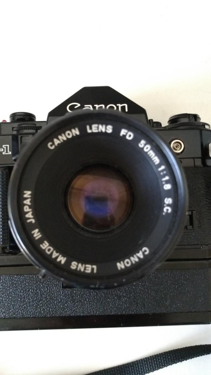 Canon A-1 パワーワインダー A 50㎜ 1:1.8 名機 一眼レフ/フィルムカメラ 使用説明書つき キャノン ブラック レンズセット 昭和レトロ_画像3