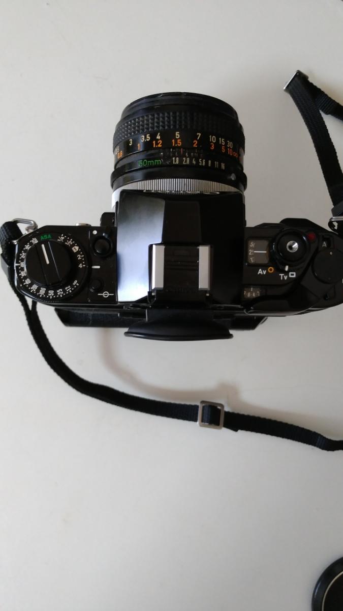 Canon A-1 パワーワインダー A 50㎜ 1:1.8 名機 一眼レフ/フィルムカメラ 使用説明書つき キャノン ブラック レンズセット 昭和レトロ_画像5