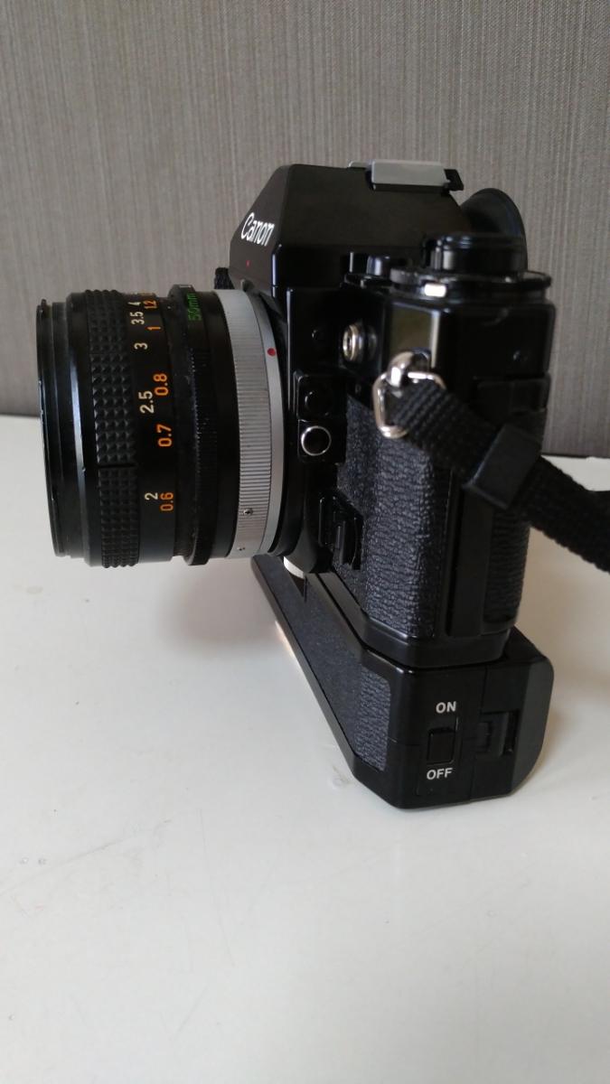 Canon A-1 パワーワインダー A 50㎜ 1:1.8 名機 一眼レフ/フィルムカメラ 使用説明書つき キャノン ブラック レンズセット 昭和レトロ_画像6