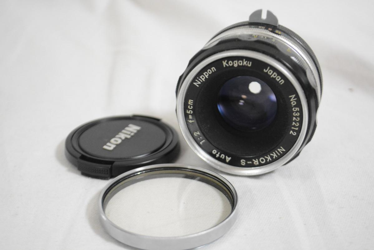 32EVB Nikon/ニコン 「Nikon F アイレベルファインダー シルバー 6414203」+「Nikkor-S Auto 50㎜ F2 単焦点レンズ」 セット 現状品_画像2