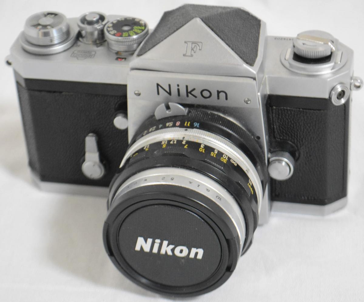 32EVB Nikon/ニコン 「Nikon F アイレベルファインダー シルバー 6414203」+「Nikkor-S Auto 50㎜ F2 単焦点レンズ」 セット 現状品