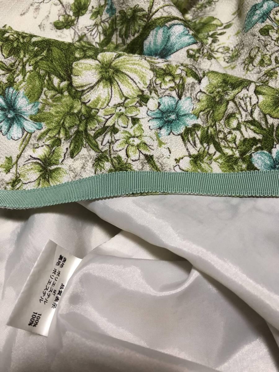 レストローズ L'EST ROSE ☆素敵なワンピース  MT さわやかグリーン系 花柄  半袖 フレアーが素敵_画像7