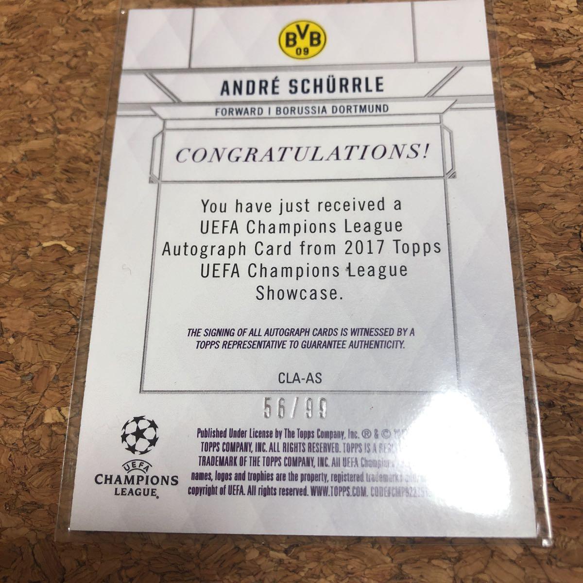 topps UEFA チャンピオンリーグ ドイツ代表 ドルトムント シュールレ 99枚限定 オートグラフ 直筆サインカード_画像4