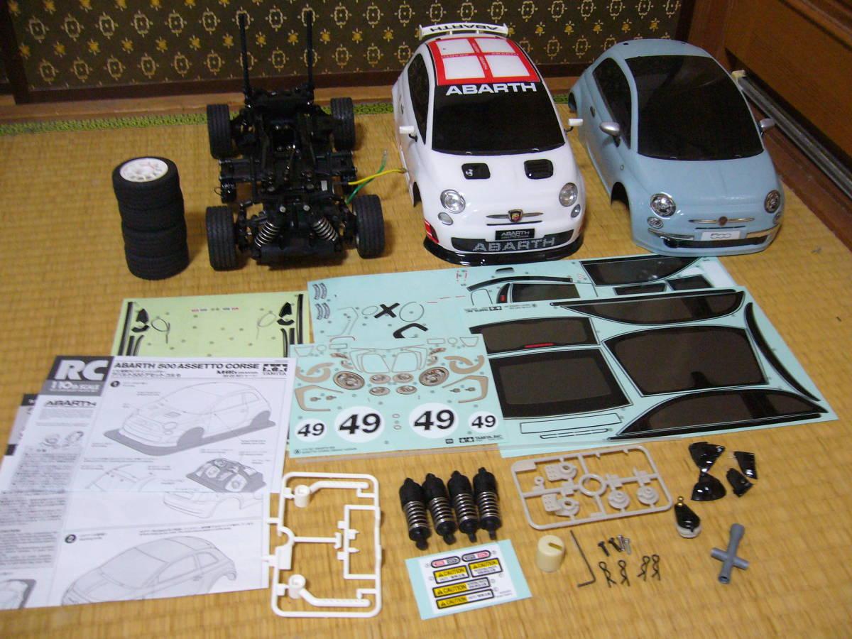 タミヤ 1/10 ラジコン FIAT500 シャーシ+ボディ2枚 ノーマル+ABARTH 未走行 組立済 M-05 Mシャーシ