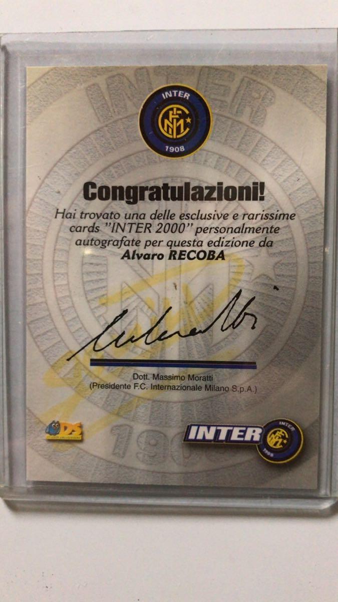 Alvaro Recoba DS Inter2000オートグラフカード+futera PLATINUMジャージーカード_画像3