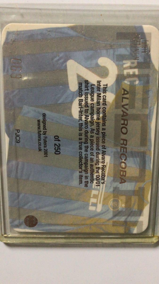 Alvaro Recoba DS Inter2000オートグラフカード+futera PLATINUMジャージーカード_画像4