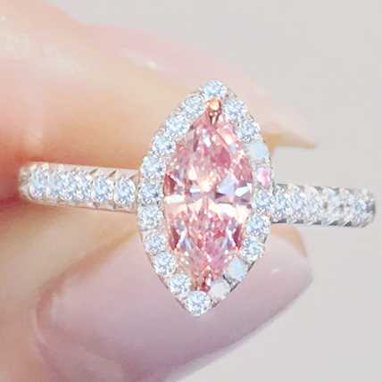 《PINK DIAMOND》K18WG K18PG ピンクダイヤモンド リング 0.55ct!!!超大粒。 0.35ct!《MARQUISE》