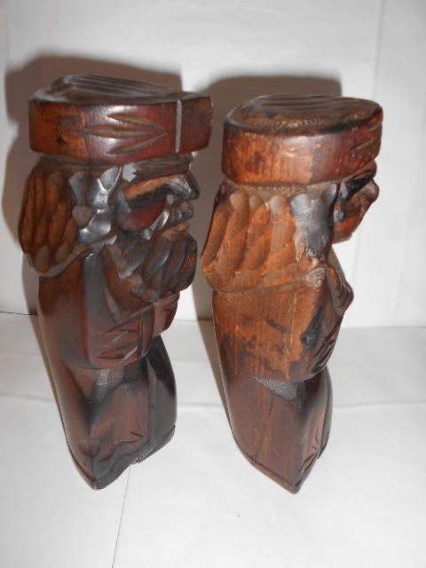 レア 昭和レトロ 北海道 アイヌ民芸品木彫りの置物2点_画像3