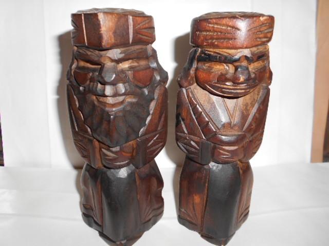レア 昭和レトロ 北海道 アイヌ民芸品木彫りの置物2点_画像1