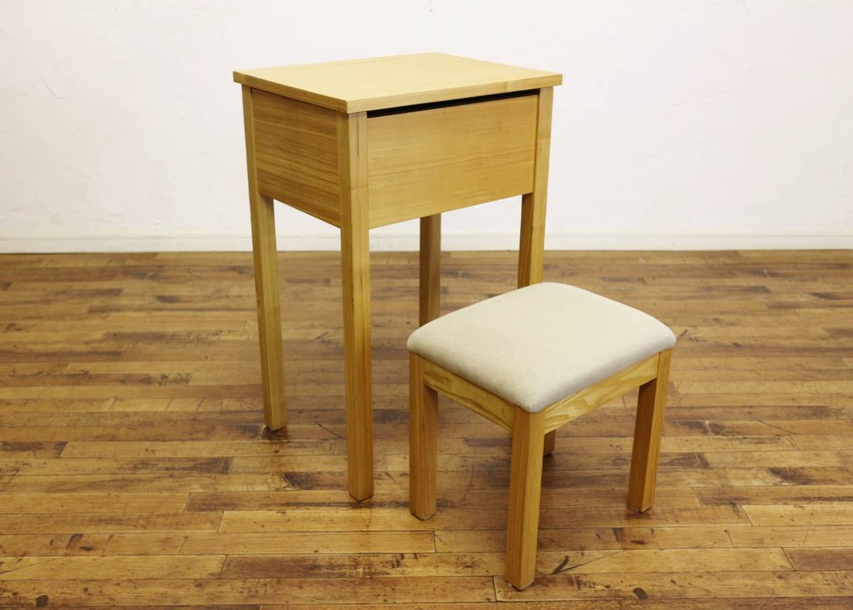 美品 無印良品 タモ材 コンパクト ドレッサー スツール 鏡台 デスク ミラー 椅子 / 北欧