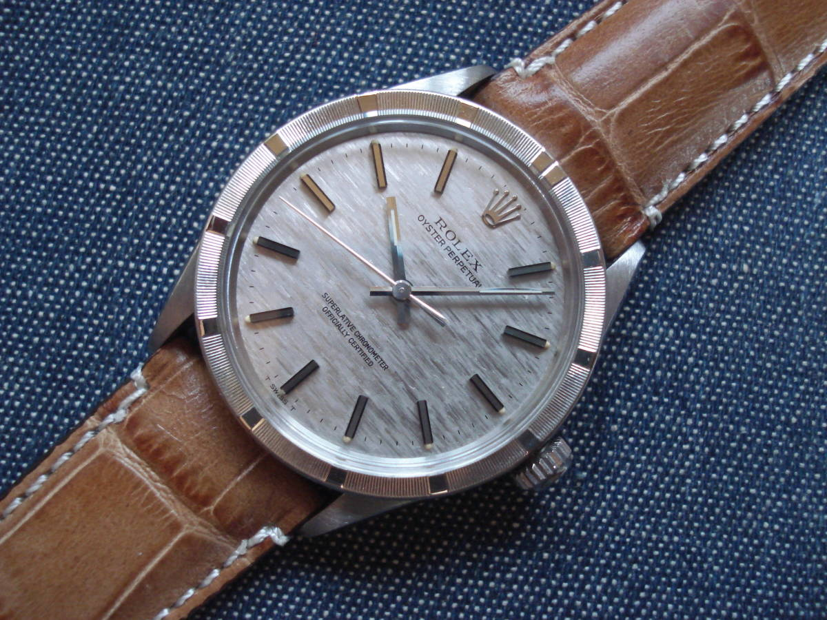OYSTER PERPETUAL 自動巻 1007 シルバー「チェックボーダー」文字盤 O/H済 美品