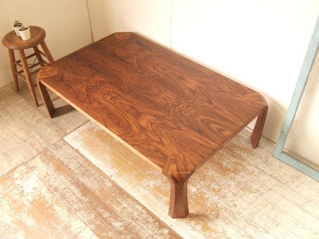 古い天童木工 ローズウッド テーブル①乾三郎 アンティーク座卓プライウッド 曲木 ビンテージ