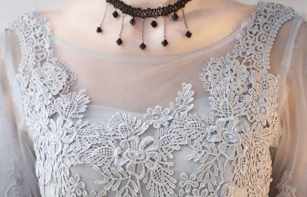 パーティードレス 花柄刺繍レース フィッシュテール ワンピースパーティー披露宴 結婚式 大きいサイズ S~XXXXL グレー_画像4