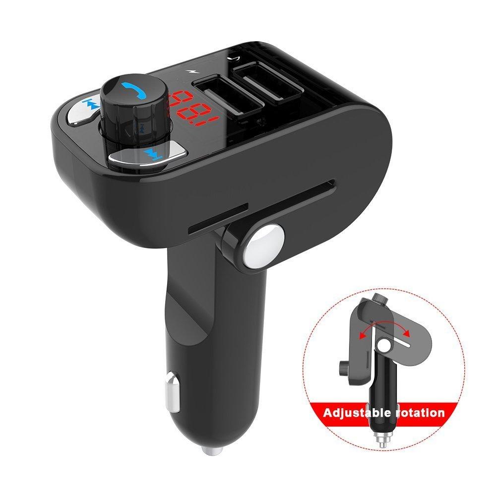 w162【新品/未使用/送料無料】FM トランスミッター Bluetooth4.2 SHINEZONE 135 °角度調節 USBカーチャージャー 2ポート(5V*2.1A/1A)