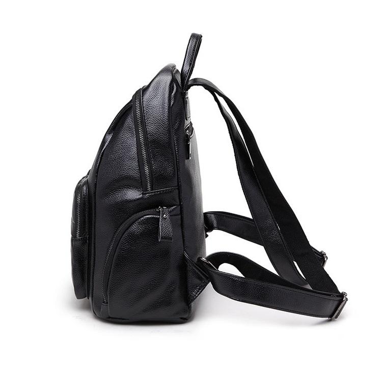 新品 レディース リュックサック ファッション 軽量 通勤 通学 本革 黒_画像2