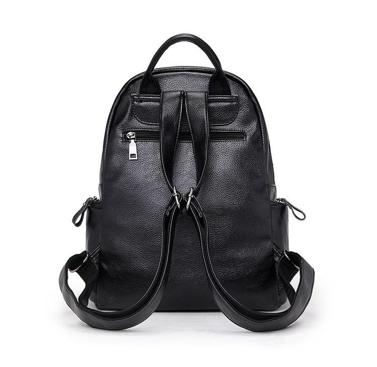 新品 レディース リュックサック ファッション 軽量 通勤 通学 本革 黒_画像3