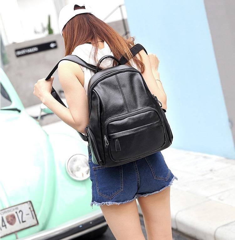 新品 レディース リュックサック ファッション 軽量 通勤 通学 本革 黒_画像10