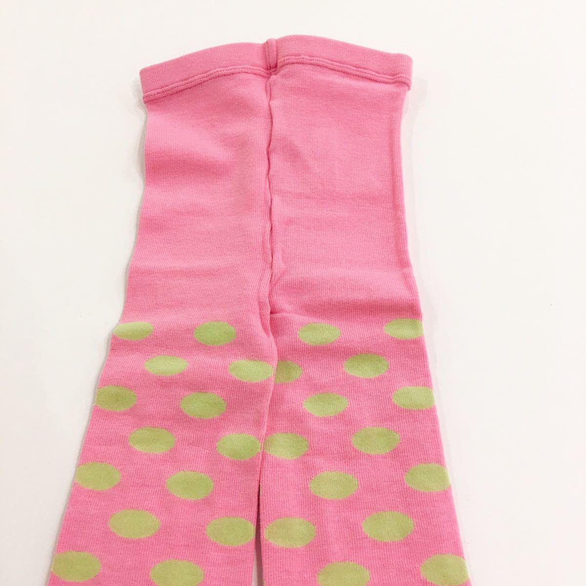 【新品未使用】fafa フェフェ レギンス ピンク 黄緑 ドット ラメ キッズ アメリカン ゆめかわいい Sサイズ 95~110cm_画像3