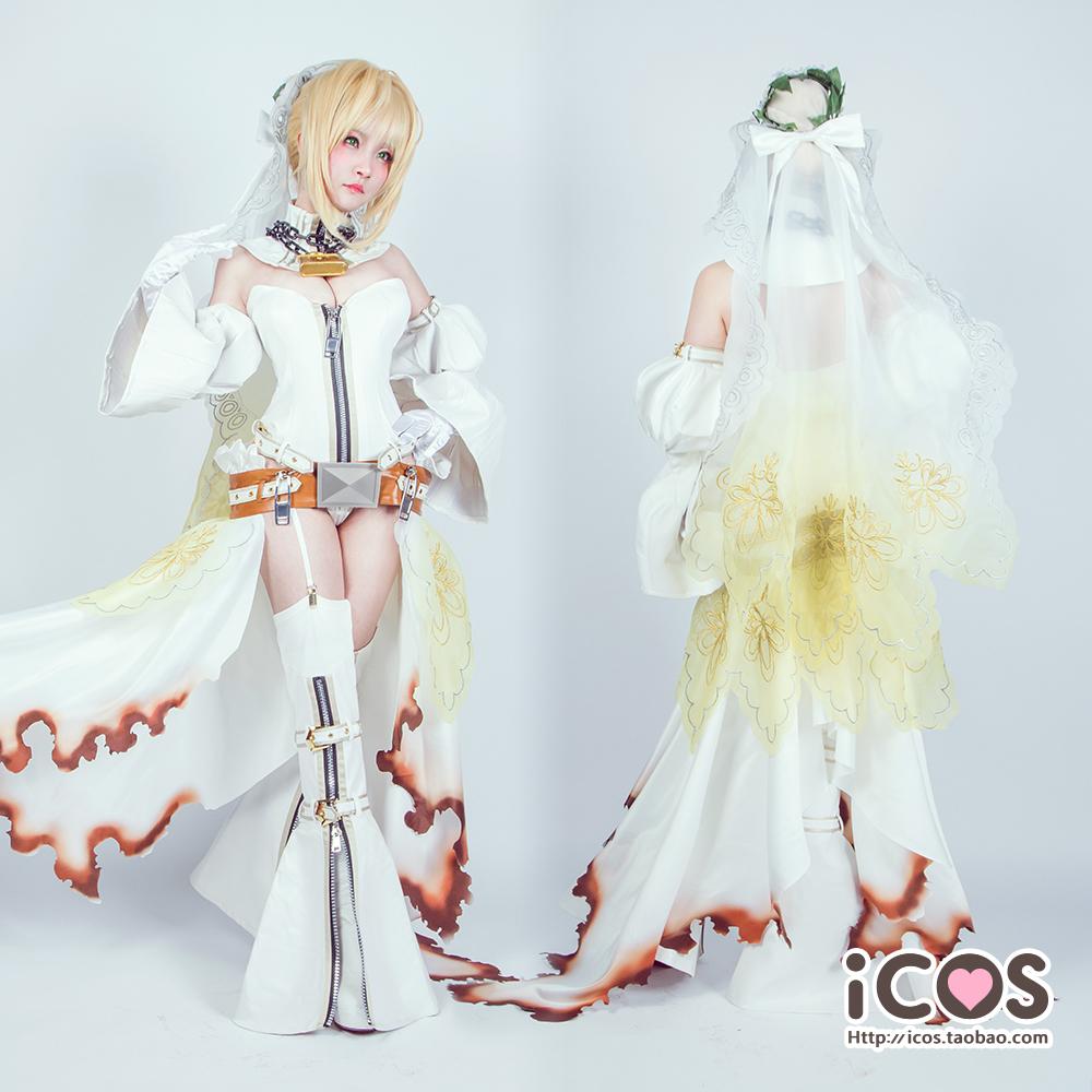 【即納】 コスプレ衣装 FGO Fate/Grand Order ネロ・クラウディウス 花嫁 豪華版 風 セット_画像1
