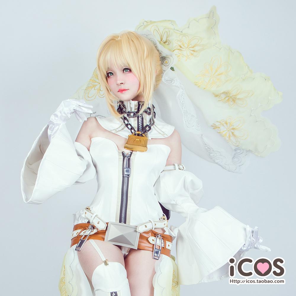【即納】 コスプレ衣装 FGO Fate/Grand Order ネロ・クラウディウス 花嫁 豪華版 風 セット_画像2