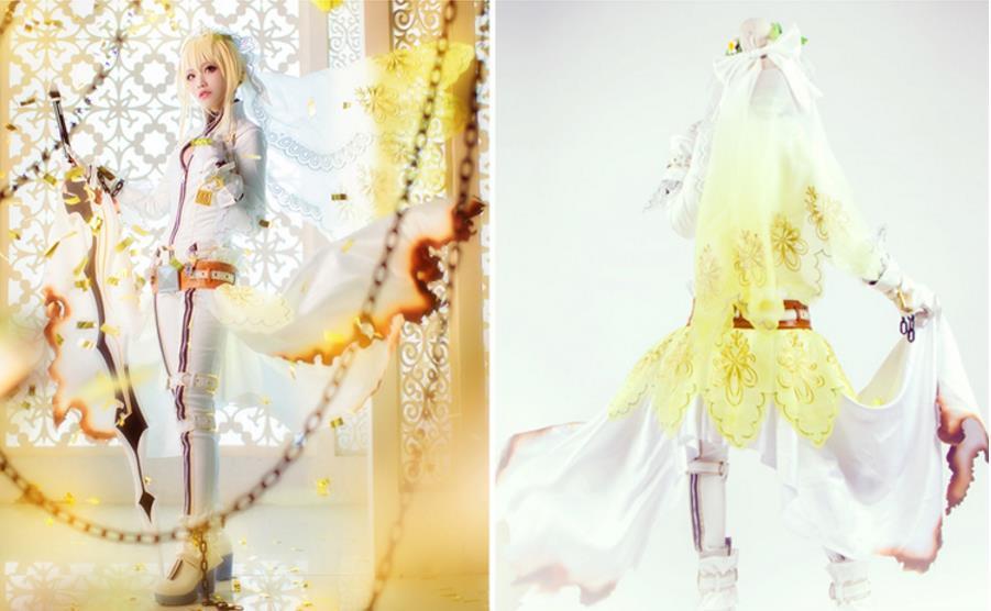 【即納】 コスプレ衣装 FGO Fate/Grand Order ネロ・クラウディウス 花嫁 豪華版 風 セット_画像4