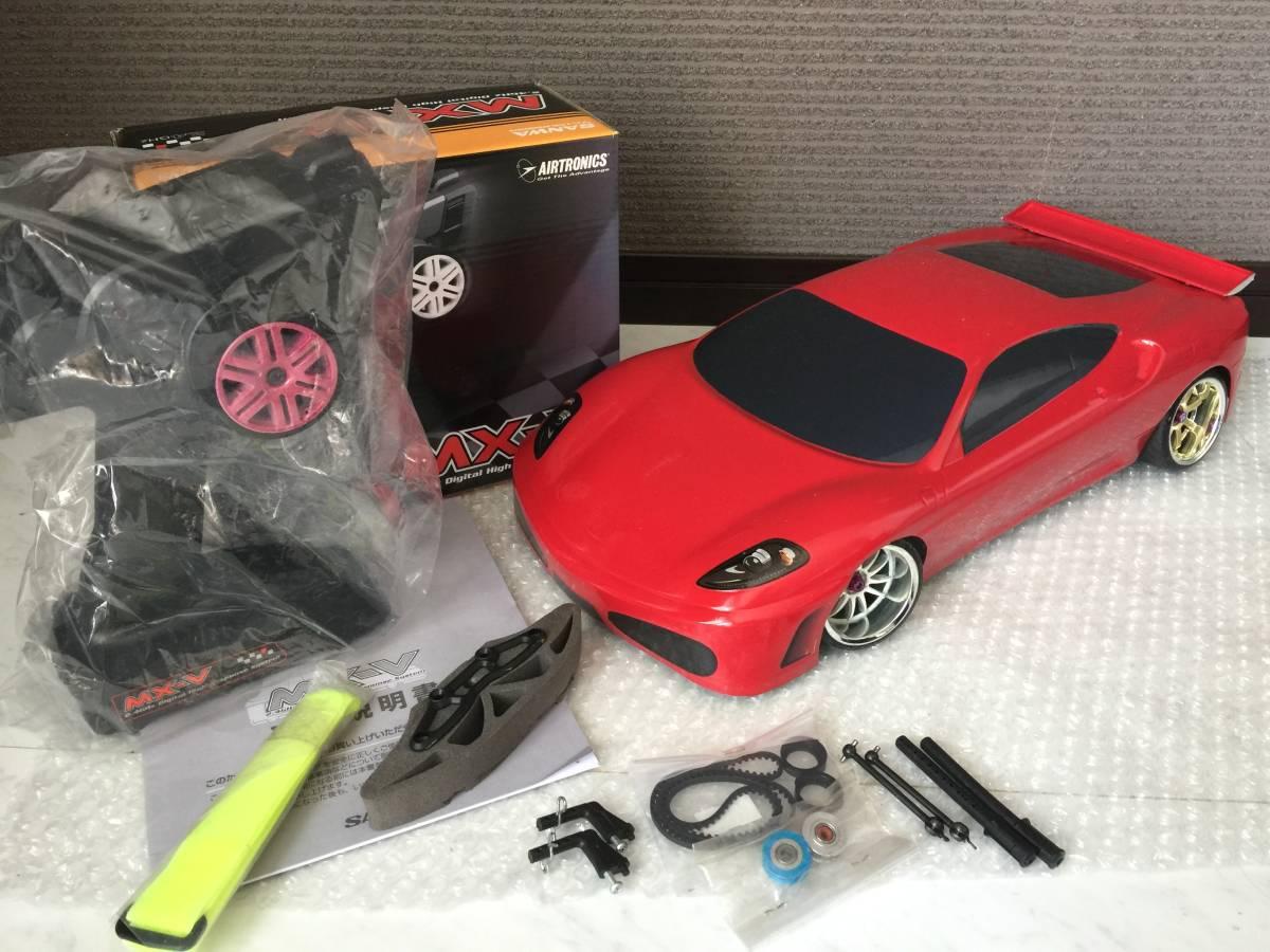 使用数回 美品 BDカーボンシャーシ & アルミパーツ 2WD RWD 仕様 切れ角UP & 新品SANWA サンワ MX-V & 新品タミヤF430ボディ & その他色々